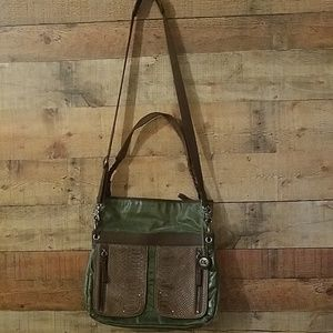 The Sak Green and Brown Leather Bag